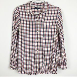 Madewell Pink, Blue & Tan Flannel Top